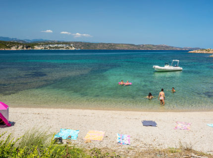 Plage, Sant'Amanza, famille, Bonifacio, Corse