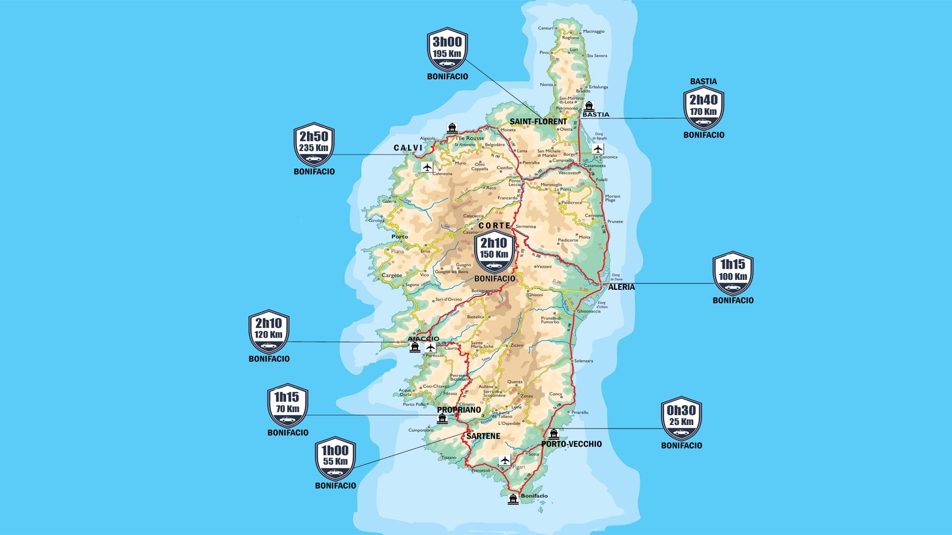 Distance between the cities of Corsica, drive - Ot Bonifacio
